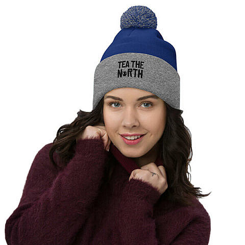 Toque – PomPom – Royal Blue / Heather Grey – Tea The North – Girl
